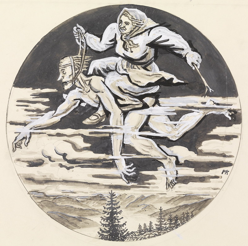 "Per Krohg - "" She took her husband out of bed an Easter evening , and rode on his back just from Gudbrandsdalen and Bergens church - ""Illustration for "" Grave 's stories "" , P. Chr. Asbjørnsen and J. Moe, total adventure , 1936"