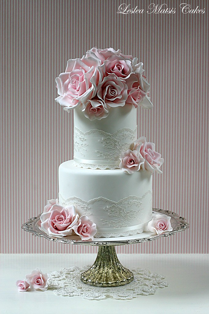 2 tier pink and white wedding cakes pink roses and lace a makeover of an display cake 10133