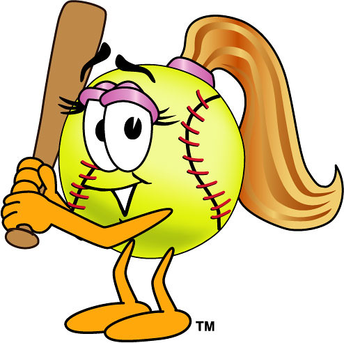 Clipart Illustration of Female Softball with Bat | Cartoon s ...