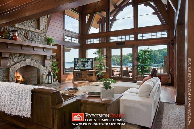 Timber Frame Great Room Precisioncraft Log Timber Home