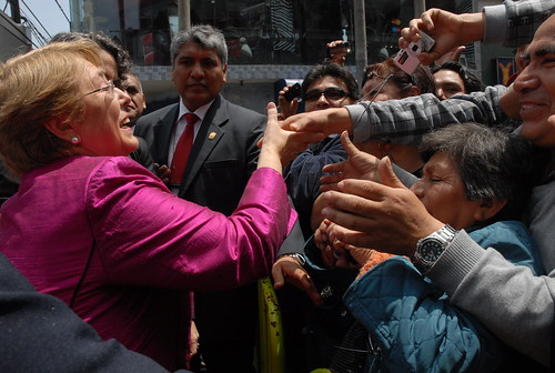 UN Women Executive Director Michelle Bachelet greets crowds at her arrival at the textile production and trade center of Gamarra in Lima, Peru, on 16 October 2012 | by UN Women Gallery