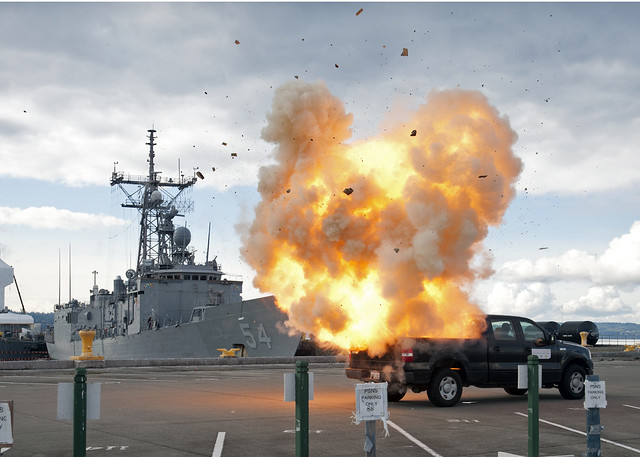A Simulated Bomb Explodes At Naval Station Everett