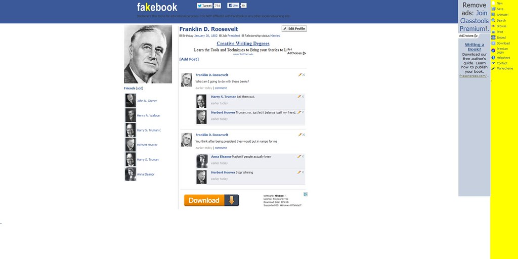 Fakebook! Create a Fake Facebook Profile Wall using this