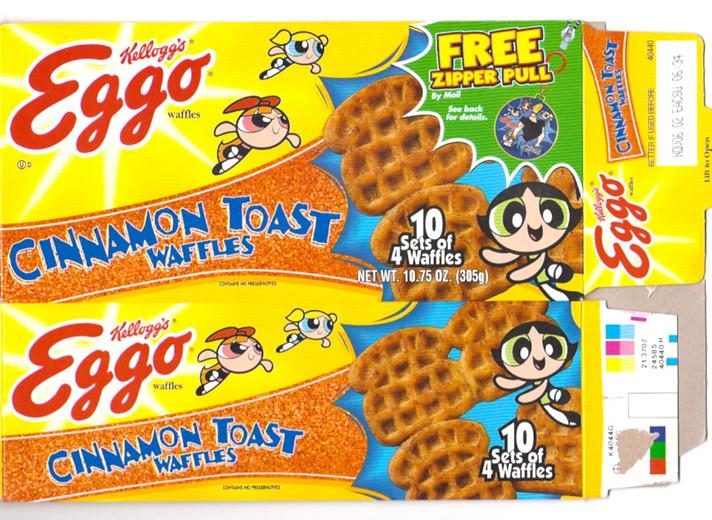 2000 Kellogg S Eggo Waffles Cinnamon Toast Box Powerpuff G