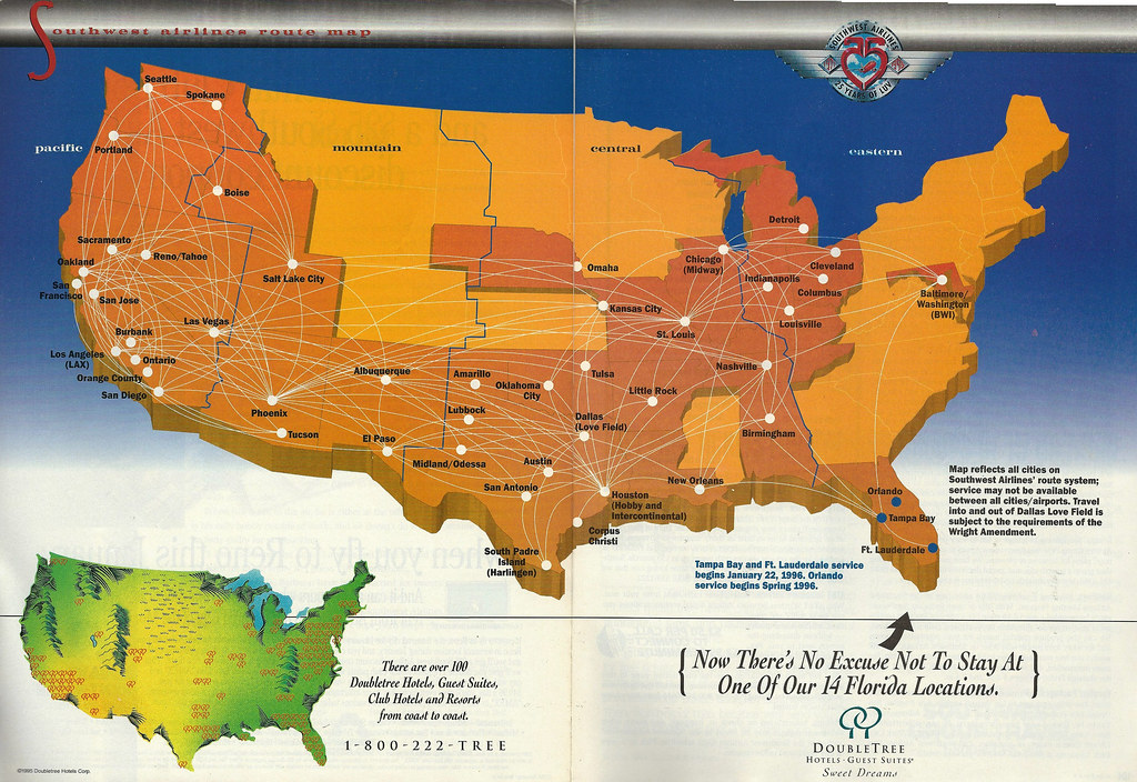 Southwest Airlines route map, January 1996   The Southwest A…   Flickr