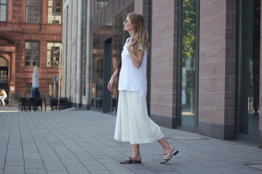 outfit culotte twink shirt slippers white city look