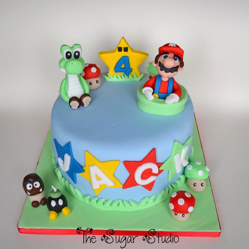 Super Mario Cake With Handmade Edible Mario Amp Yoshi Cake T