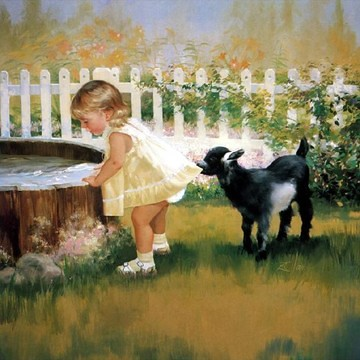 Cute baby with pet dog oil painting animal oil paintings for Paintings of toddlers