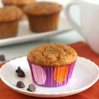 Whole Wheat Pumpkin Chocolate Chip Muffins | by Tracey's Culinary Adventures