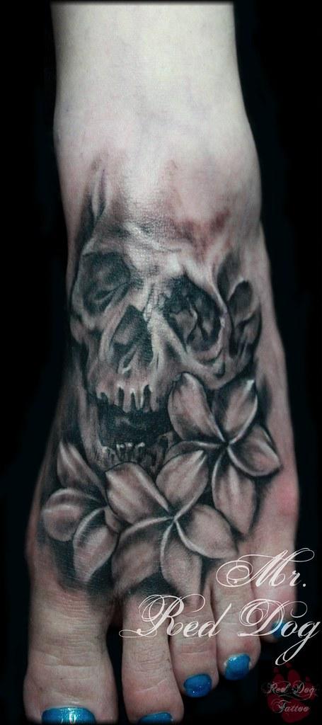Foot Skull Tattoo Done At Red Dog Tattoo Benalmadena Costa Flickr
