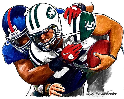 New York Giants Michael Boley and New York Jets Tim Tebow | by Jack Kurzenknabe