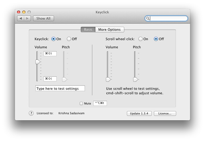 Keyclick screenshots