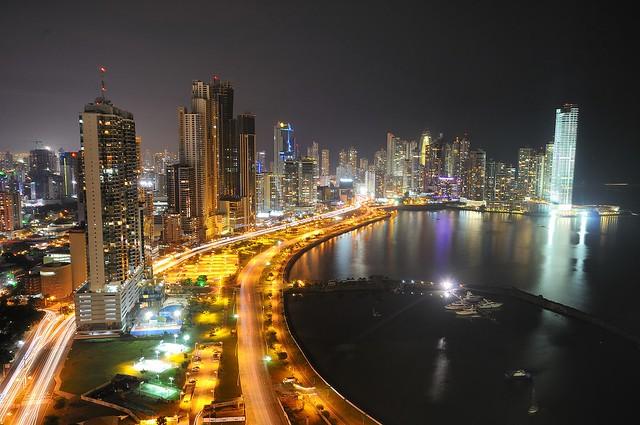 Panama City at night (skyline from Ave. Balboa)