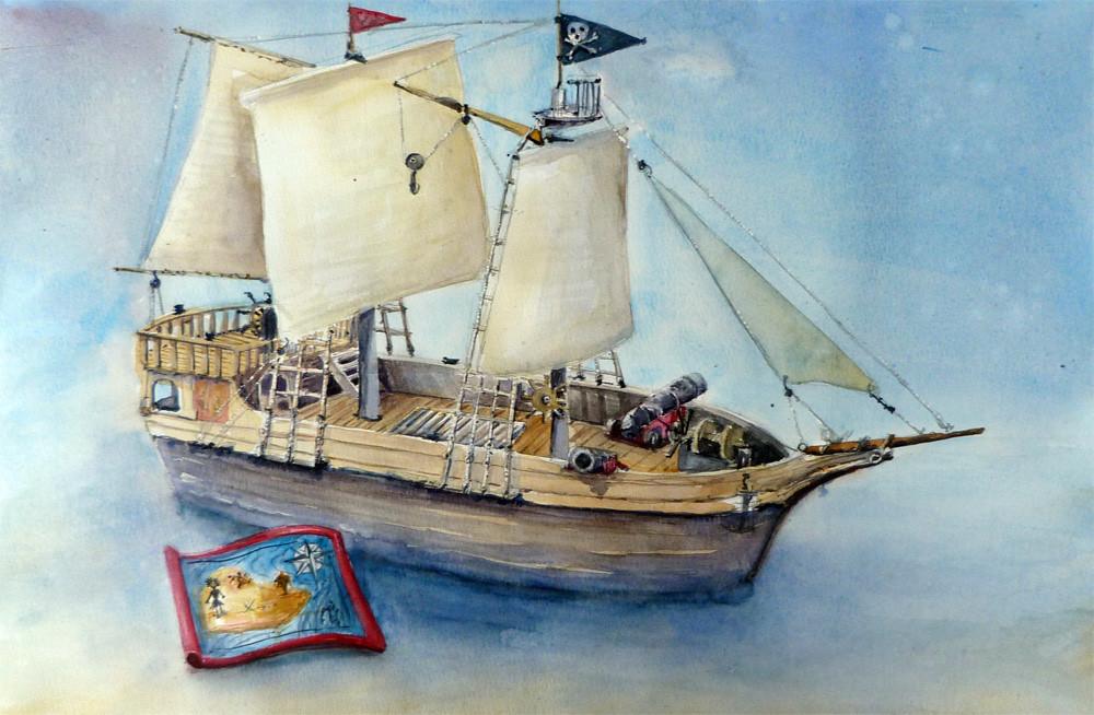 playmobil bateau pirate format 70x60 aquarelle sur. Black Bedroom Furniture Sets. Home Design Ideas