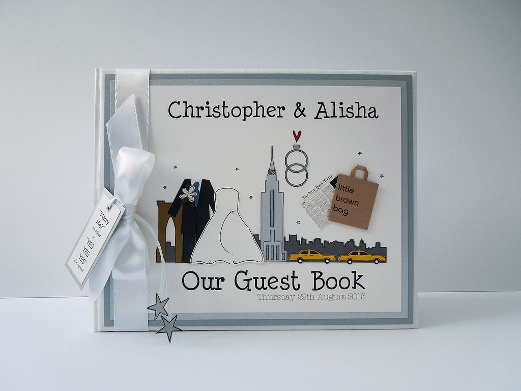 New York themed Wedding Guest Book | www.bunnydelicious.com | Flickr