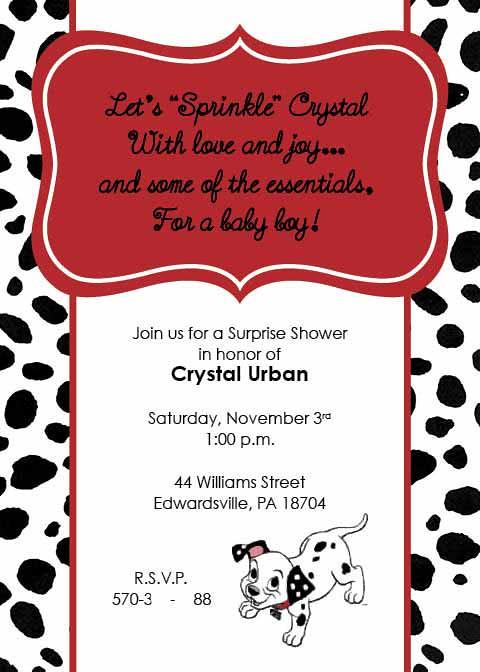 101 Dalmatian Sprinkle Baby Shower Invitation Dalmatian Flickr