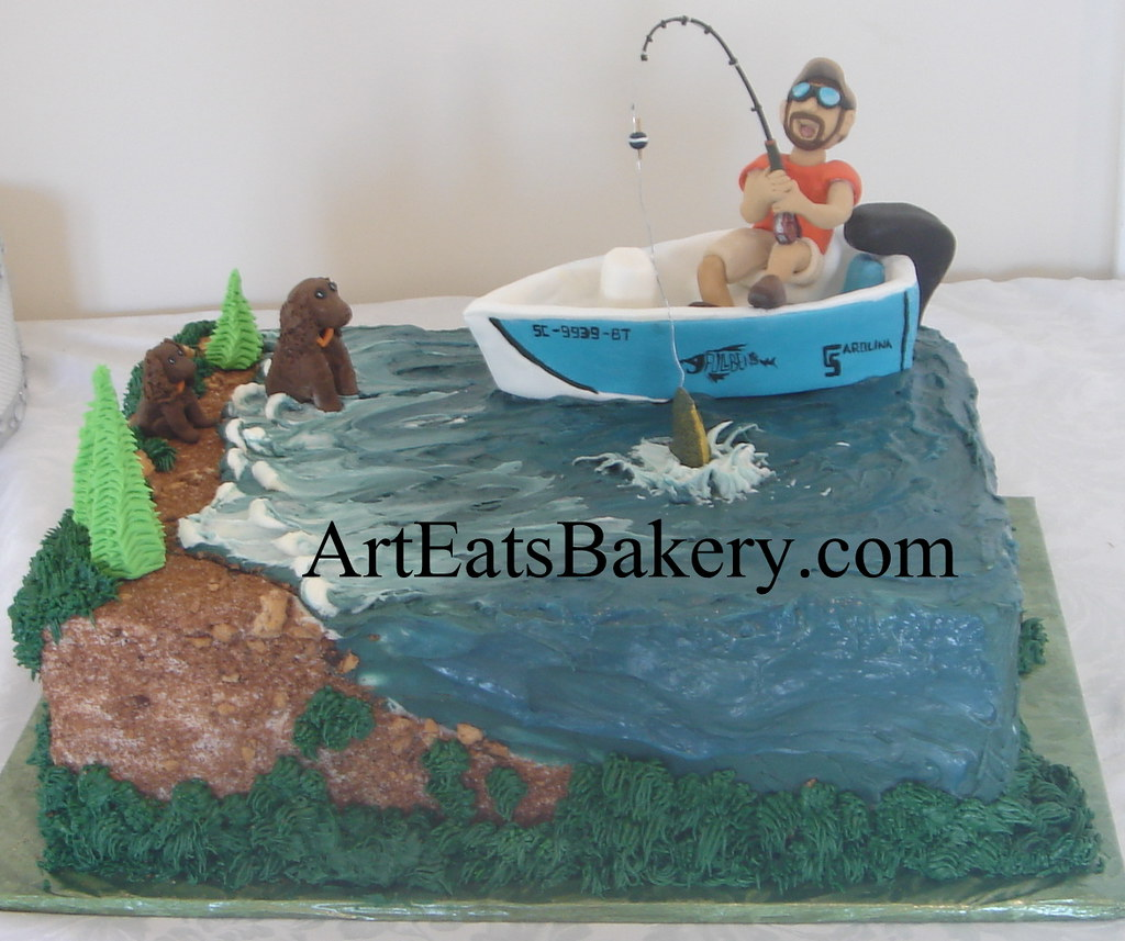 Gone fishing custom unique groom's cake design with edible ...