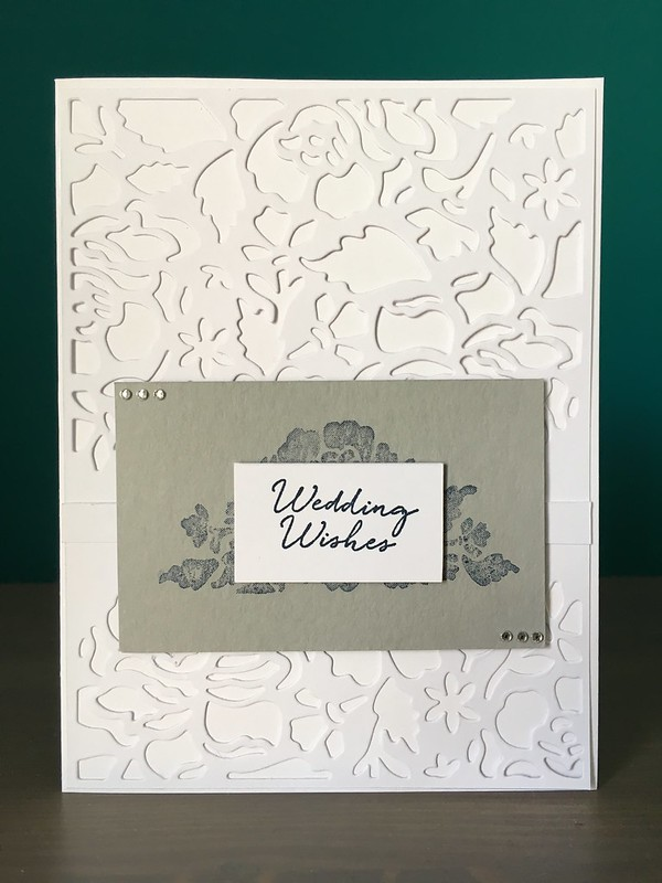 Wedding Wishes card by StickerKitten with Stampin' Up Detailed Floral Thinlits die and Floral Phrases stamps