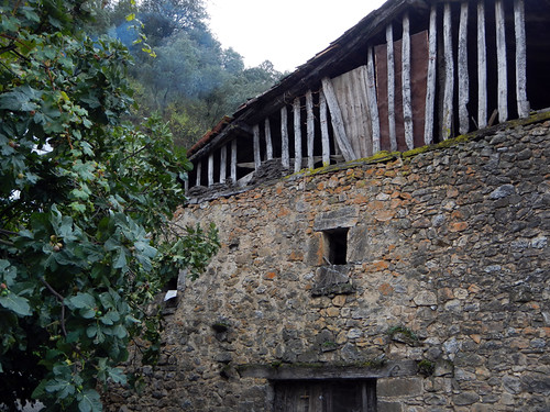 Stone barn in the mountain village of Brez in the Picos de Europa, Spain
