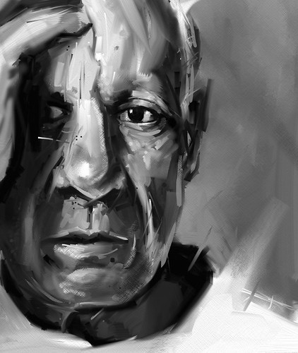 Picasso black and white | iPad portrait painting of ...