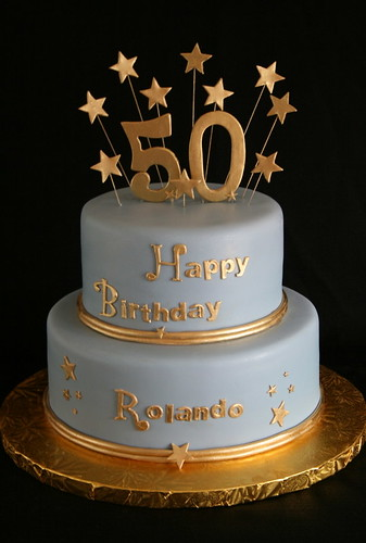 50th Birthday Cake Gold And Blue Modeled After Last