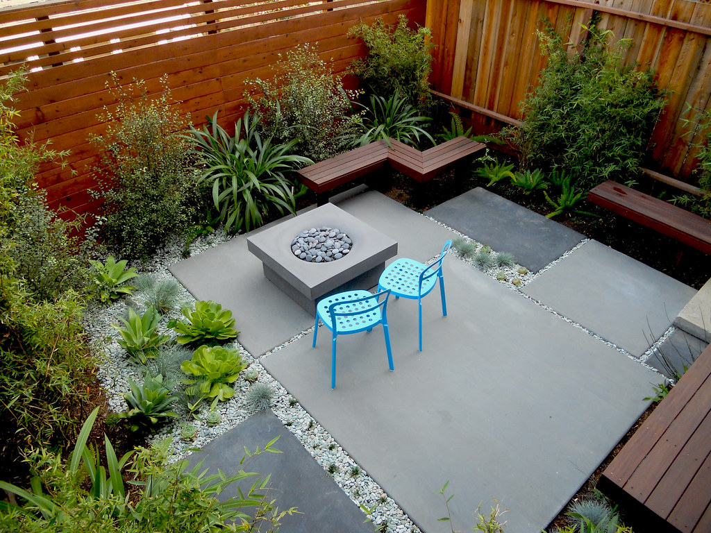 Compact concrete garden this garden was just a square for Backyard patio landscaping