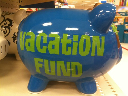 Vacation fund piggy bank blue green time to take a for Travel fund piggy bank
