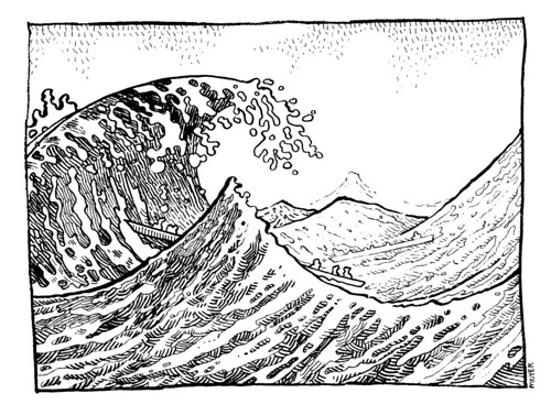 Line Art Waves : The wave drawing art classics from memory here s