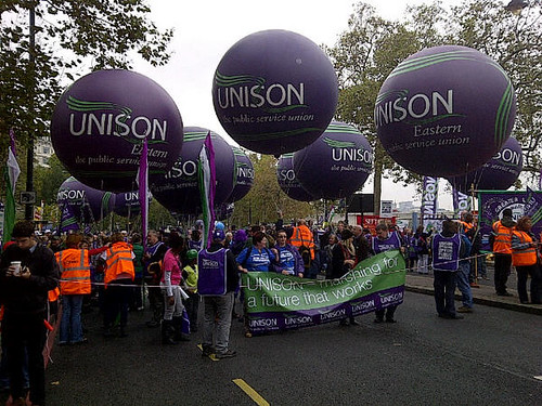 The march heads off from Embankment | by unisonpix
