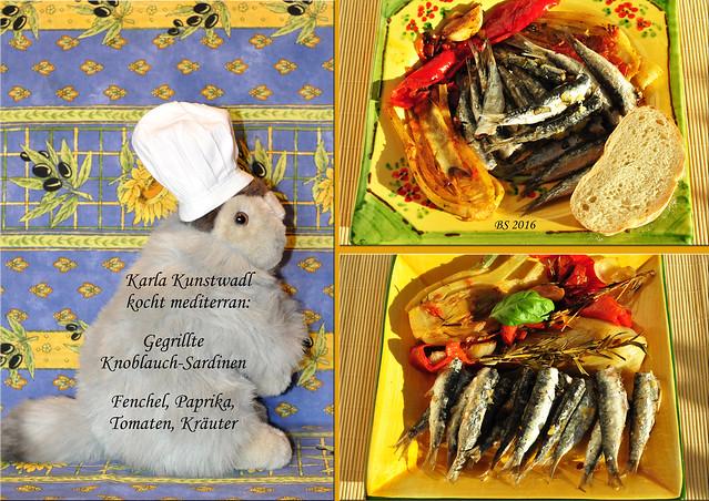 Chefköchin Karla Kunstwadl kocht mediterran. Auf Wunsch vegan ... mit gegrilltem Fenchel und Paprika, Knoblauch, Zwiebeln, Tomaten, Rosmarin, Basilikum. Wahlweise auch mit knusprigen Knoblauch-Sardinen. So oder so ist das Gericht farbenfroh, voller köstlicher Aromen und schmeckt nach Mittelmeer-Urlaub. Gut gelungen und sehr lecker, Karla! - Fotos und Collagen: Brigitte Stolle 2016