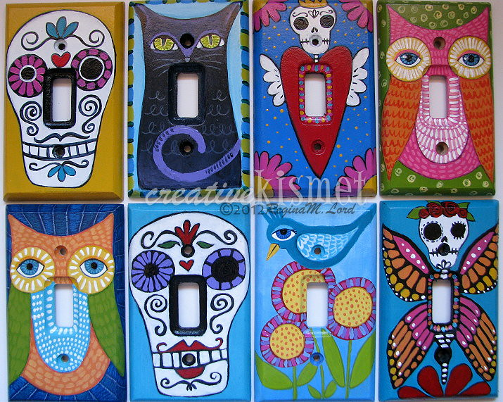 Hand Painted Light Switch Plates: ... hand painted light switch plates   by Regina Lord (creative kismet),Lighting