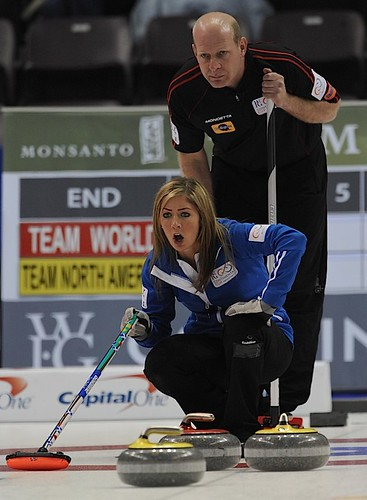 Penticton B.C.Jan13_2013.World Financial Group Continental Cup of Curling.Team World skip Eve Muirhead,Team North America skip Kevin Martin.CCA/michael burns photo | by seasonofchampions