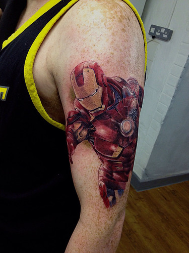 Ironman by stutti 2013 ironman first piece of a for Marvel sleeve tattoo black and white