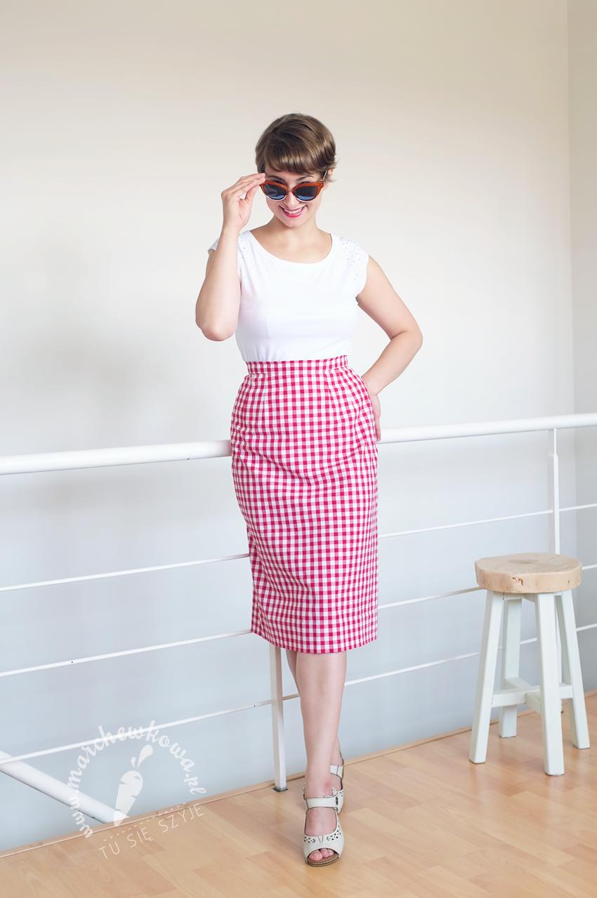 marchewkowa, blog, blogger, szycie, sewing, moda, fashion, retro, vintage, 50s, 60s, Burda Style, wykrój, pattern, spódnica ołówkowa, pencil skirt, Vichy, Gingham, bawełna, cotton, Wrocław szyje