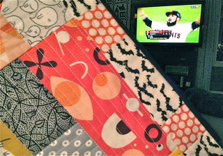 SF Giants Halloween Christmas-ish teenie quilt | by Happy Zombie