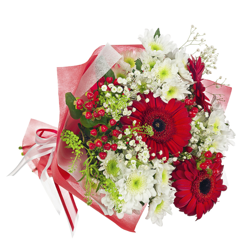 Colorful flower bouquet in red paper isolated on white bac… | Flickr