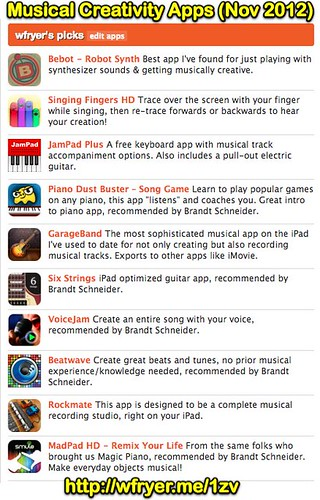 Best iPad Apps for Musical Creativity (Nov 2012) | by Wesley Fryer