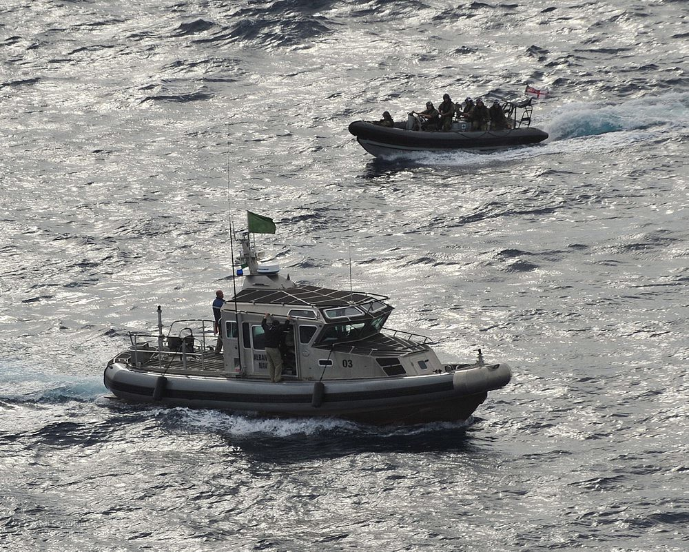 Royal Navy With Albanian Naval Forces Patrol Boat A