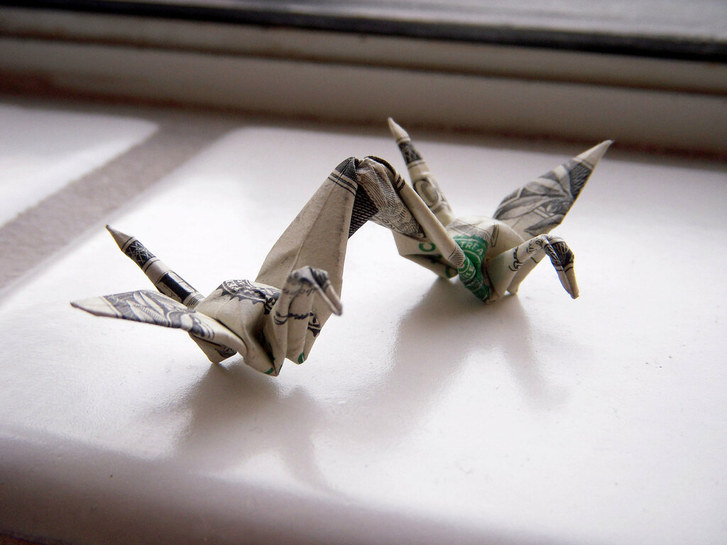 Dollar Origami 2 Cranes By Won Park Instructions Can Be F Flickr