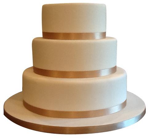 Three Tier Plain Iced Wedding Cake
