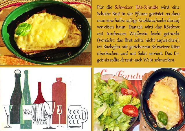 Schweizer Chässchnitte Kässchnitte Knoblauch trockener Weißwein Schweizer Käse Foto und Collage: Brigitte Stolle