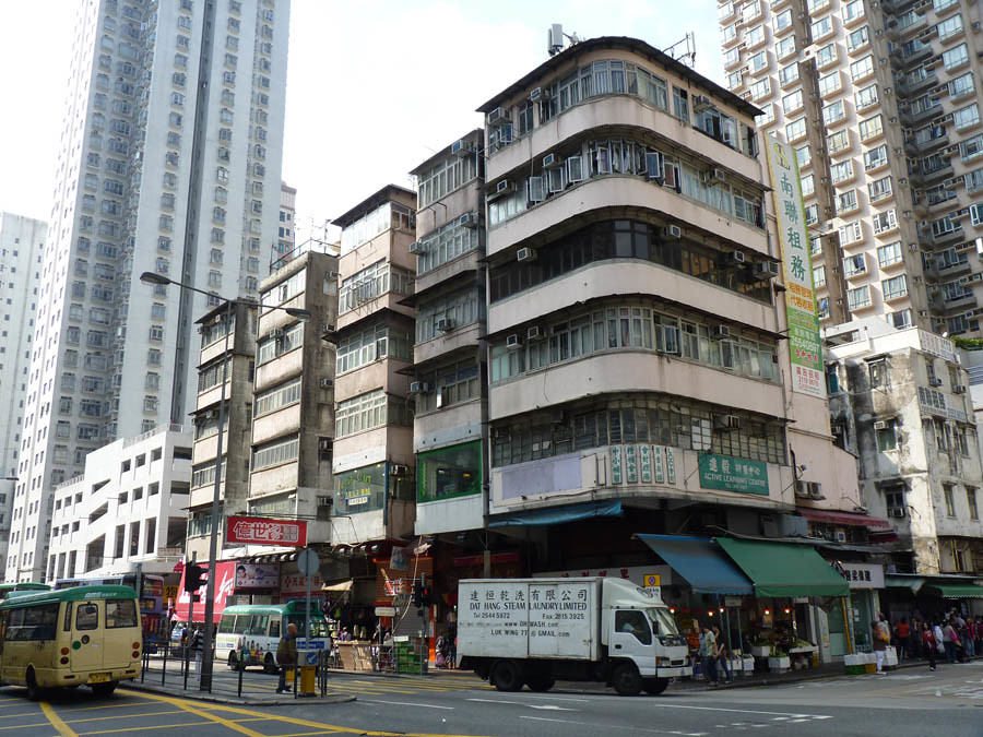 Old residential buildings, Aberdeen, Hong Kong ...
