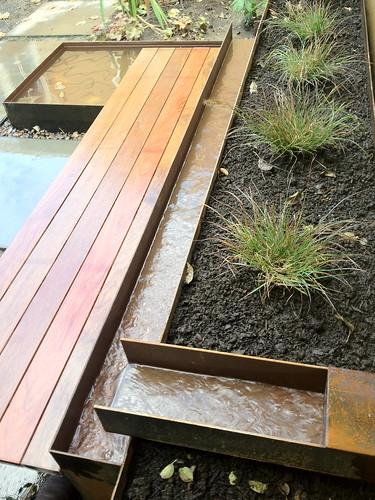 wood steel stone wood bench steel water feature. Black Bedroom Furniture Sets. Home Design Ideas