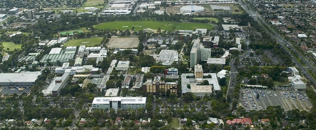 aerial view  clayton campus clayton  kilometres south flickr