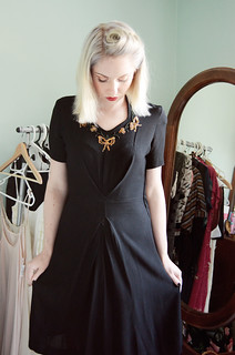1940s dress black and gold sequins e | by night.owl