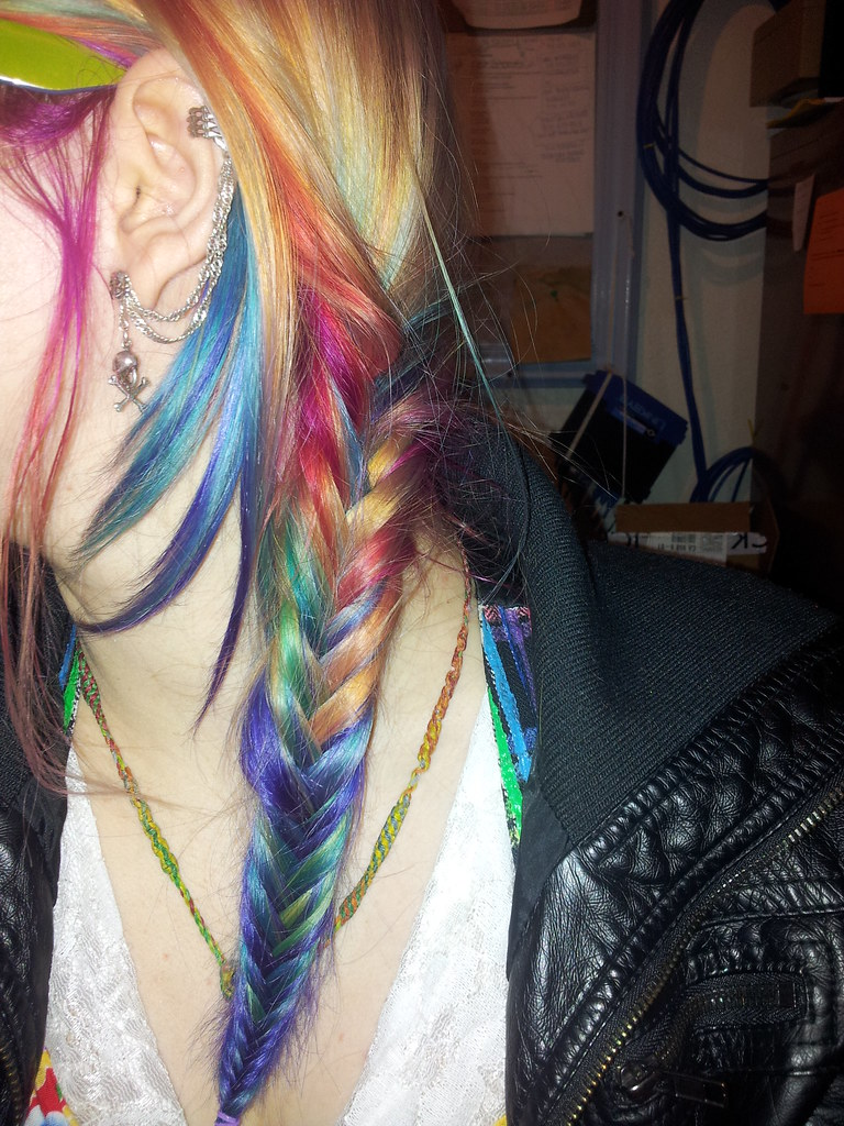 Rainbow hair fishtail braided | I love fishtail braids and ... Fishtail Braid How To