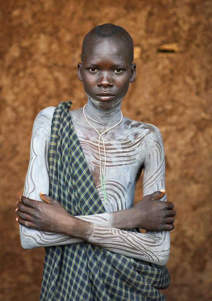 Suri Tribe Boy With A Painted Body, Kibish, Omo Valley, Et -5057