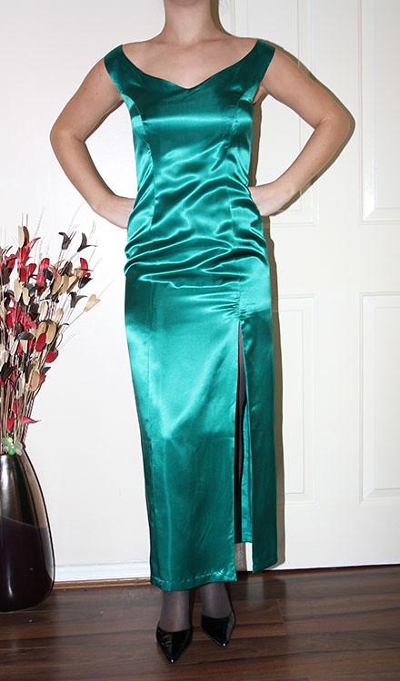 Vintage Green Satin Hobble Dress And Jacket Beautiful
