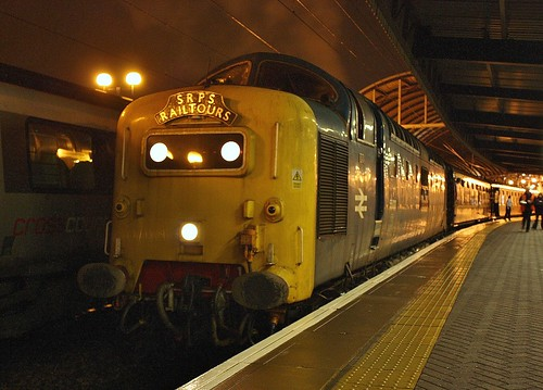 Class 55 Deltic No. 55022 'Royal Scots Grey' at Newcastle With The SRPS 'Christmas Marketeer' Railtour (1Z19) - 7th Dec 2012 | by allan5819 (Allan McKever)