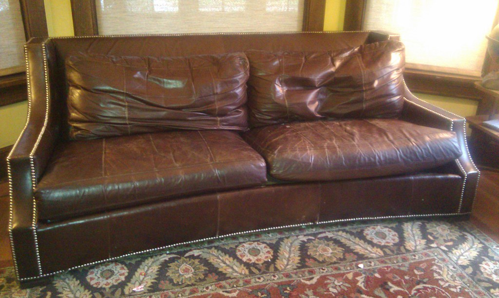 Walnut brown leather couch with silver rivet studded detai for Brown leather couch with studs